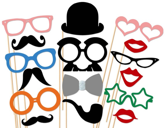 Wedding Photo Booth Props 16 Piece Set - Party Photo Booth Props