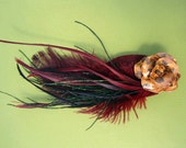 Leopard Spotted Rose hair clip with Garnet and Black Feathers