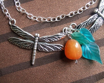 Silver Dragonflies with Teal Glass Leaves