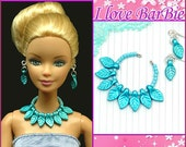 barbie doll jewelry set barbie purple pearl necklace and earrings