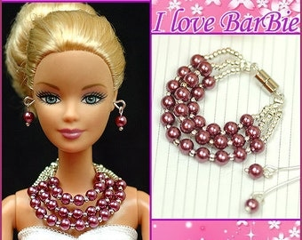 doll jewelry set doll purple pearl necklace and earrings