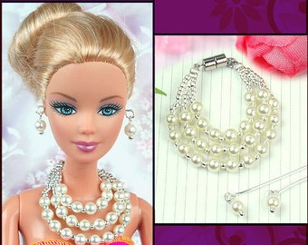 doll jewelry set white pearl necklace and earrings
