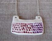 Pink Ombre 'Keyboard' Ceramic Porcelain Bib Pendant Necklace