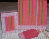 Paper Goods - Complete Gift Set - Handmade - Hand Decorated - Gift Box - Tag - Note Card -OOAK by SandJPaperandWood