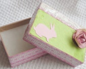 SALE:  Paper Goods Gift Box for Small Treasure Hand Decorated Box Sweet Easter Box