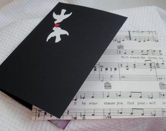 Note Card Send to One You Love a Decorative Card w Doves/Heart & Music note Envelope