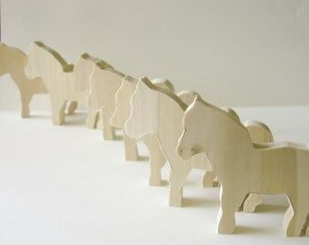 Natural Wood -  Wooden Toy - Horses - Waldorf - Childrens - Creative Play - 3.00 Each