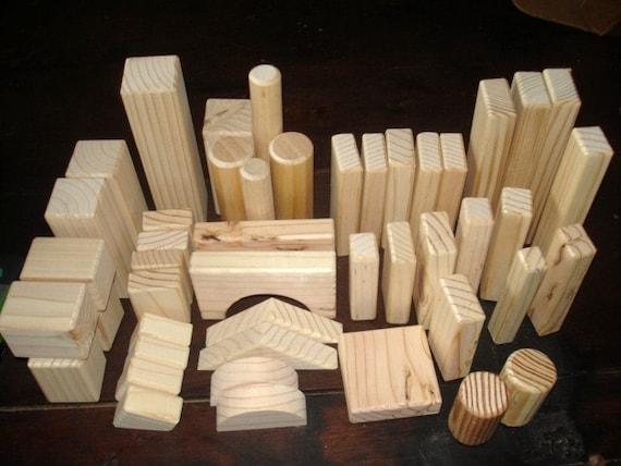 Natural Wood - 40-  Building Blocks - Waldorf - Educational - Skills - Creative Play