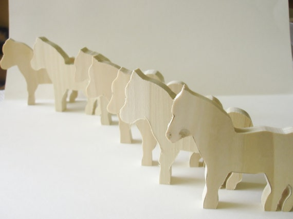 Natural Wood -  Wooden Toy - Horses - Waldorf - Childrens - Creative Play - 5.50 Each