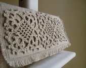 The Frilly - Hemp Lace Motif on Unbleached Linen Clutch