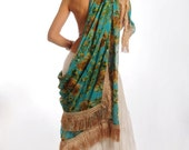 CUSTOM ORDER for lovely ANA Green Chiffon Fringe Scarf Floral Huge Boho Gypsy Tribal Fusion Belly Dance Hip Scarf