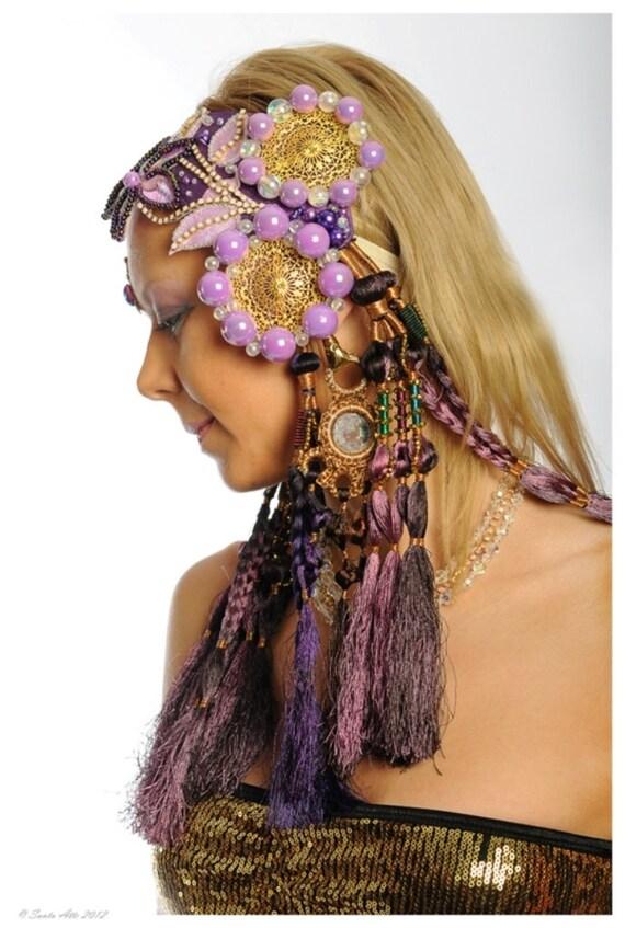 SALE 20% OFF Tribal Belly Dance Hair Accessories Tribal Fusion Flower Headband Headdress DeLuxe Professional Performance Headdress