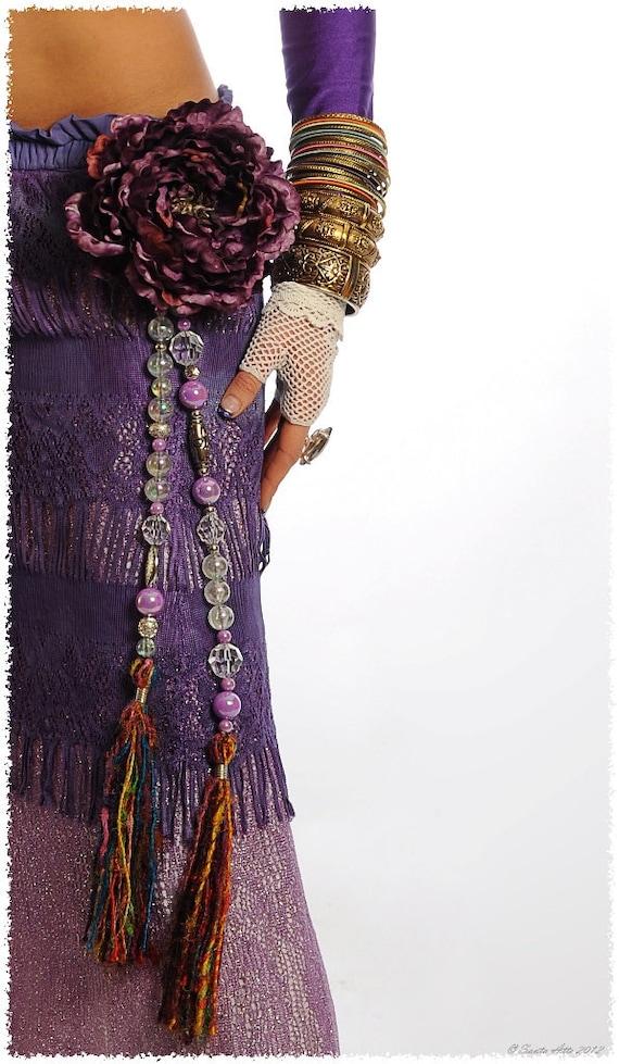 Tribal Jewelry Silk Tassels Tribal Belly Dance Hip Accent  Purple Iridescent Tribal Fusion Gypsy Boho Burlesque