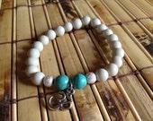 Ivory and Turquoise Om Charm Bracelet