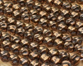 metallic bronze beads, quantity 25, 8mm round rock shape, czech glass, rare