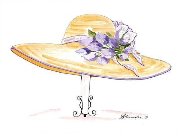 Set of 3 - Hat, Shoe, Purse Prints - Lavender Tulips - Enhanced with Watercolor Paint and signed - SALE