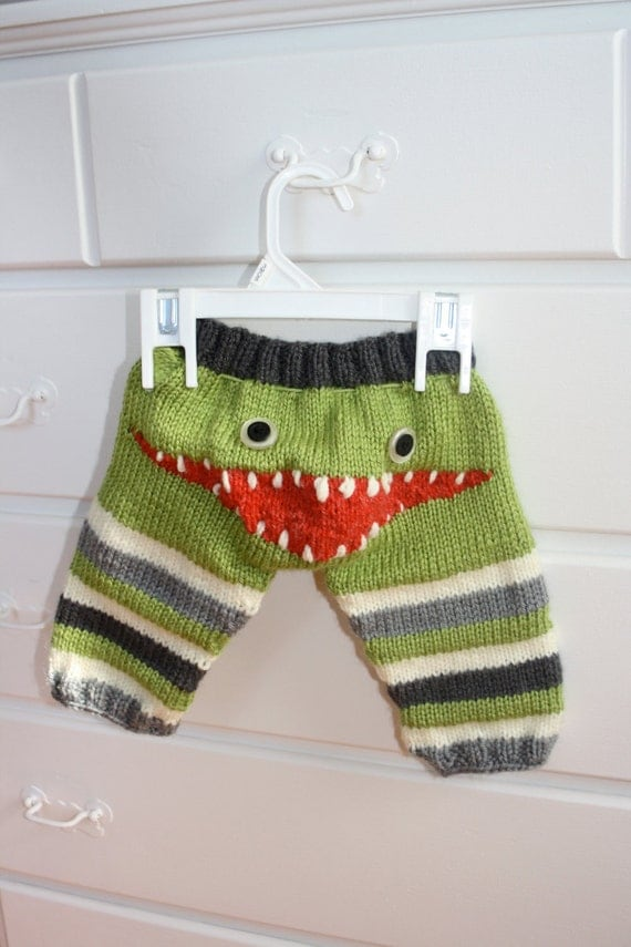 Knitting Pattern For Toddler Leggings : Hand Knit Monster Leggings for Baby