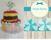 Baby 2 tiered pinwheel diaper cakes baby shower gift or decorations or customize it
