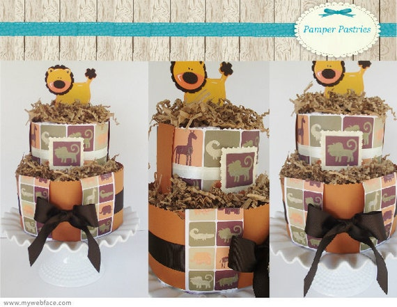 Baby mini safari diaper cakes baby shower gift or decorations or customize it