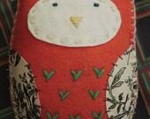 Orange Owl Felt Plushie