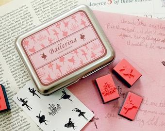 Ballerina Rubber Stamps Kit DIY (9 pieces)