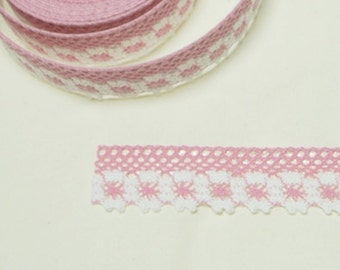 Adhesive Flower  Lace Fabric Roll Tape- Pink