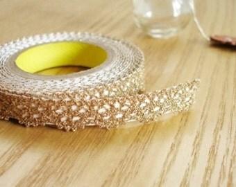 Adhesive Metallic Lace Fabric Roll Tape- Gold