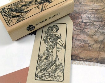 Art Nouveau Four Season Rubber Stamp