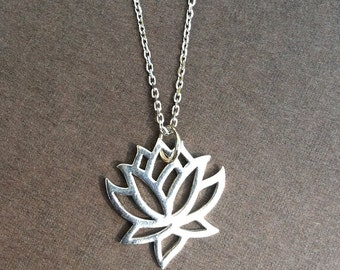 Lotus flower charm necklace, sterling silver necklace