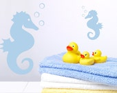 Seahorse Children's Decor - Two Seahorse Decor Wall Decals With Bubbles  - Kids Vinyl Wall Art