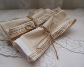Handmade Cream Cotton Linen Home Sweet Home Napkins. Cream Napkins.