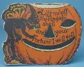 Halloween - Authentic Old Vintage Antique Beistle Halloween Paper Pumpkin with Fairy