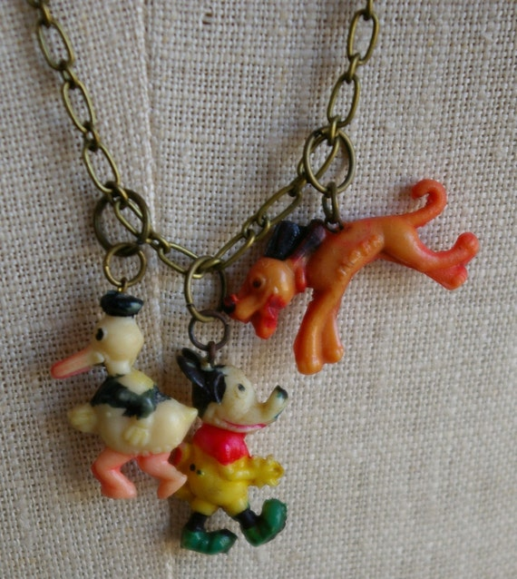 Vintage Celluloid Charm on Brass Chain Necklace with Disney Mickey Mouse, Donald Duck, Pluto Cracker Jack Gumball Prize Premium