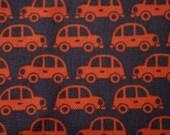 Kokko Japanese Fabric Orange Cars on Navy Cotton