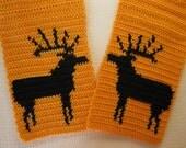Mens Hunting Scarf.  Orange crochet scarf with bull elk.