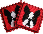 Boston Terrier Pot Holder Set. Red crochet potholders with Boston dogs. Boston terrier kitchen trivet