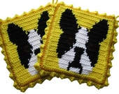 Boston Terrier Pot Holders. Yellow, knit and crochet potholders with black and white Boston dogs.  Dog kitchen decor