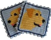 Labrador Retriever Pot Holders.  Crochet Potholders with yellow Labs.