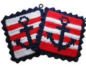 Crochet Anchor Pot Holders.  Nautical stripes, anchor kitchen decor,