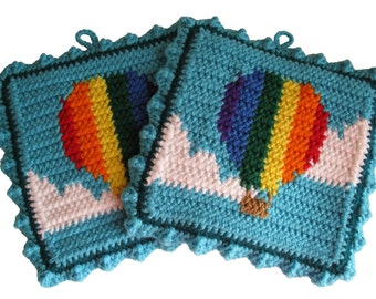 Hot Air Balloon Potholders.  Crochet pot holders with rainbow stripe balloons. Thick pot holder set