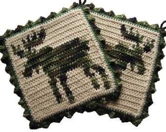Moose Pot Holder Set. Large camouflage crochet potholders. Moose art decor hot pad