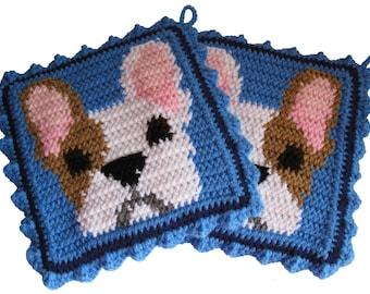 French Bulldog Pot Holder Set. Thick crochet potholders with bulldogs
