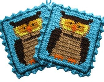 Owl Pot Holder Set.  Turquoise crochet potholders with owls.