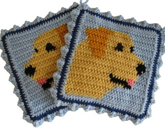 Labrador Retriever Pot Holders.  Crochet Potholders with yellow Labs.