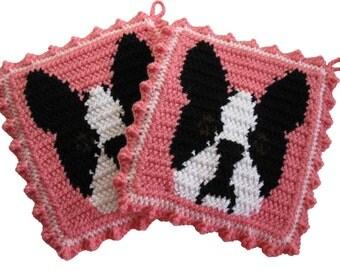 Boston Terrier Pot Holders. Pink, crochet potholders with Boston dogs. Dog fiber art