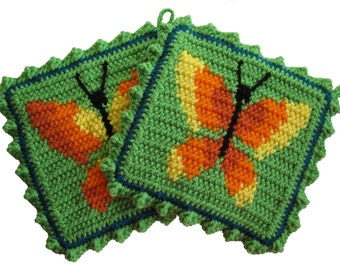 Crochet Butterfly Pot Holders.  Lime green potholders with yellow and orange butterflies.  Butterfly trivet. Spring decor