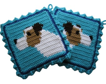 Jack Russell Terrier Pot Holders.  Turquoise crochet dog potholders.  Parson terrier dog decor.