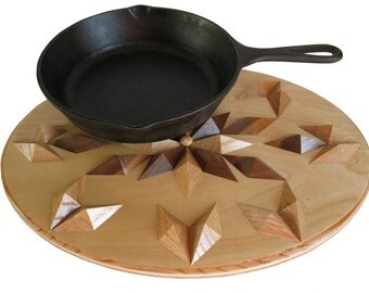 Woodwork Hot Pad or Wood Trivet.  Large wooden, kitchen decor centerpiece.