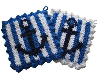 Anchor Pot Holders.  Nautical decor, blue and white stripes crochet potholders.