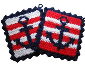 Crochet Anchor Pot Holders.  Nautical stripes, anchor kitchen decor,